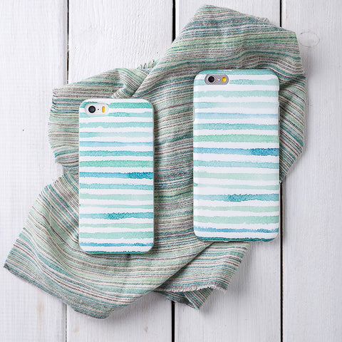 Teal Green Stripes Phone Case Cover for iPhone 5/5s, iPhone 6/6s , iPhone 6/6s Plus - CaseCarnival- Design Cases