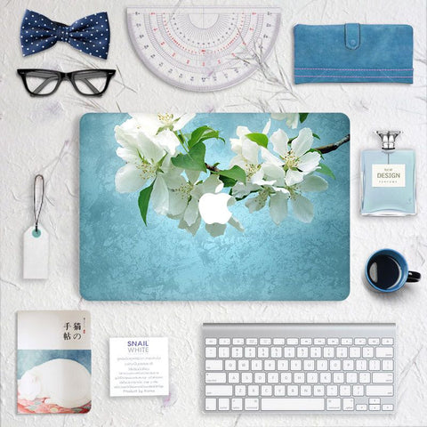 Macbook Skin Decal Sticker - Ewha Pear Blossom Flowers - CaseCarnival- Macbook Decal Sticker