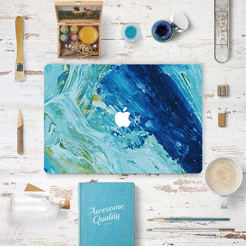 Macbook Skin Decal Sticker - Teal Blue Oil Painting - CaseCarnival- Macbook Decal Sticker