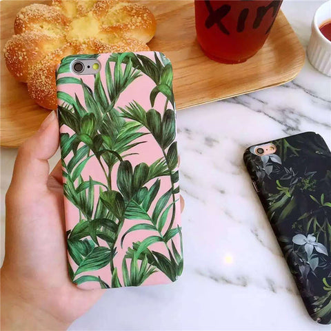 Apple iPhone 6/6s and Plus Case - Pink Tropical leaves