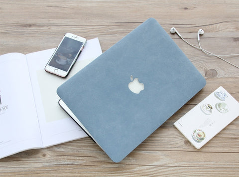 Macbook Case - Matt Leather Texture Case (Blue / Pink / Grey) - CaseCarnival- Macbook Cases