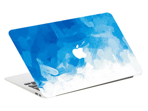 Macbook Skin Decal Sticker - Blue White Watercolor - CaseCarnival- Macbook Decal Sticker