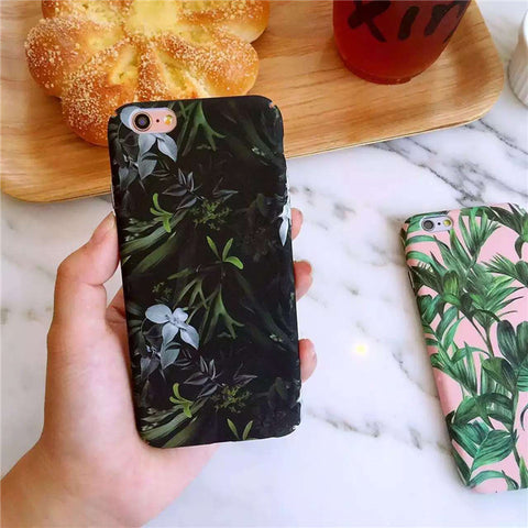 Apple iPhone 6/6s and Plus Case - Black Tropical leaves - CaseCarnival- Design Cases