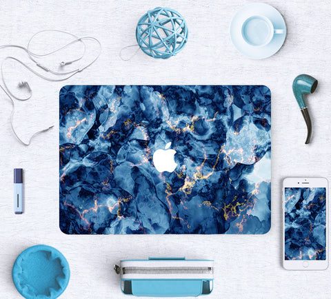 Macbook Skin Marble Decal Sticker - Blue Deep Ocean