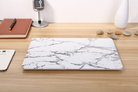 Macbook Case - White Marble Print Matt Case - CaseCarnival- Macbook Cases