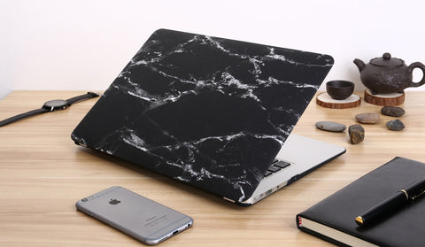 Macbook Case - Black Marble Print Matt Case - CaseCarnival