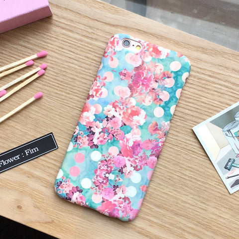 Apple iPhone 6/6s and Plus Case - Pink Polka Dot Floral Pattern