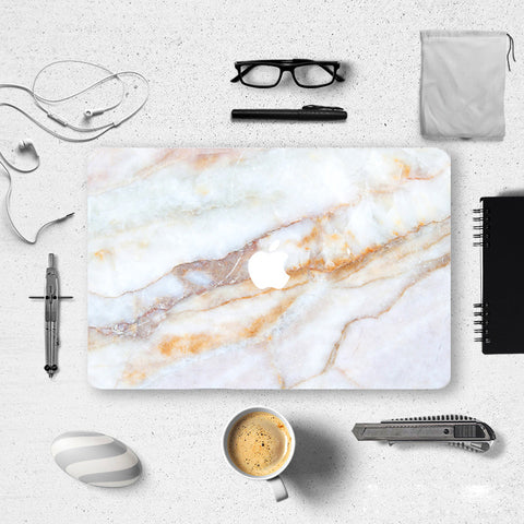 Macbook Skin Decal Sticker - Yellow White Marble Print - CaseCarnival- Macbook Decal Sticker