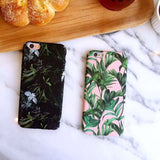Apple iPhone 6/6s and Plus Case - Black Tropical leaves