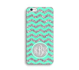 Green Glitter Print Chevron Monogram Phone Case for Apple iPhone ,Samsung Galaxy, LG, HTC, SONY - CaseCarnival- Monogram case