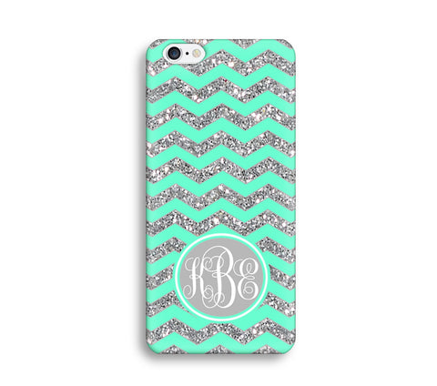 Green Glitter Print Chevron Monogram Phone Case for Apple iPhone ,Samsung Galaxy, LG, HTC, SONY - CaseCarnival
