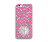 Pink Glitter Print Chevron Monogram Phone Case for Apple iPhone ,Samsung Galaxy, LG, HTC, SONY - CaseCarnival- Monogram case