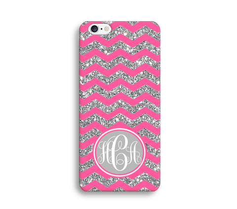 Pink Glitter Print Chevron Monogram Phone Case for Apple iPhone ,Samsung Galaxy, LG, HTC, SONY - CaseCarnival