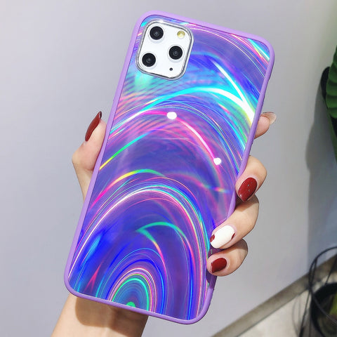 Holographic Prism Rave Style Laser Case for iPhone 11 Pro X XR XS Max Cases 3D Rainbow Glitter Phone Cover for iPhone 7 8 6S 6 Plus - CaseCarnival