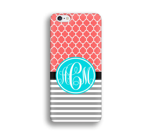 Stripe Monogram Cell Phone Case - Hot Pink Coral Turquoise monogram - SC010 - CaseCarnival