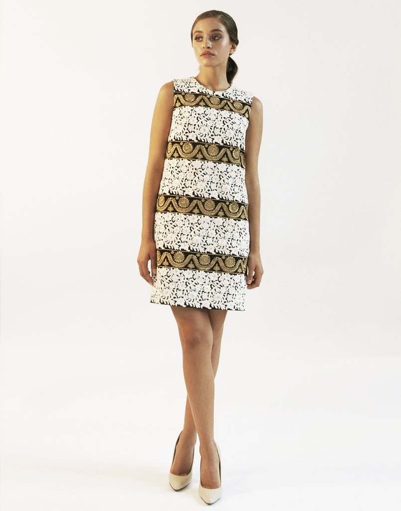 Mestiza New York Embroidered Gladiola Shift Dress in Black White and Gold  Floral Indian Embroidery Sleeveless