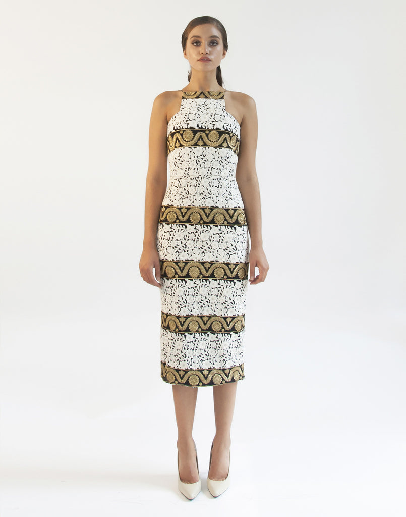 Mestiza New York Flame Tree Midi in Black White Gold Embroidered Indian Fabric Square Neckline Cocktail Dress