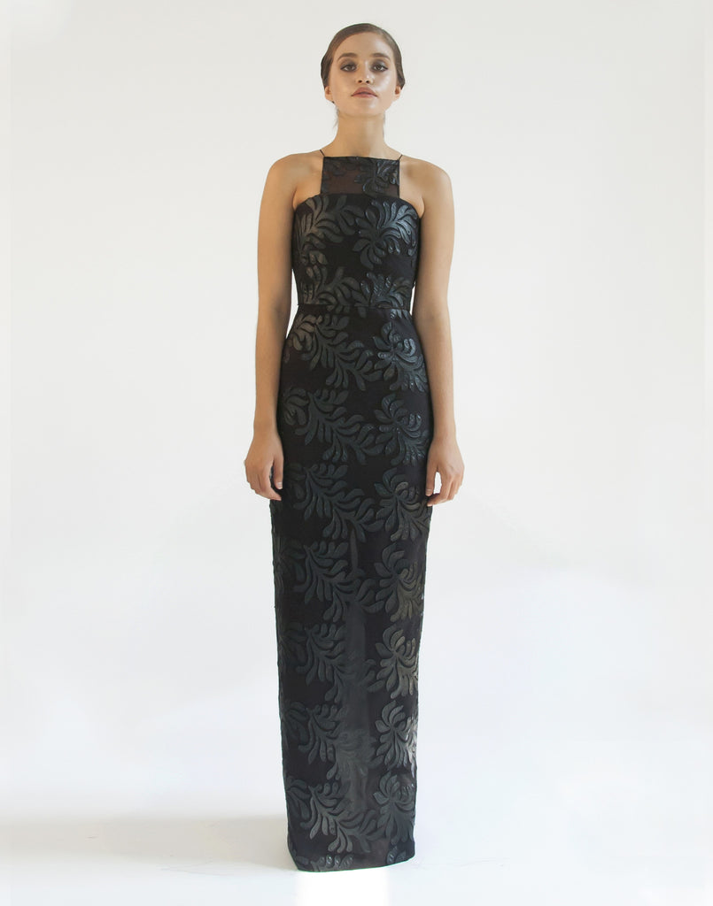 Mestiza New York Flame Tree Gown in Faux Leather Cut Outs on Tulle from Italy Evening Dress Square Illusion Neckline