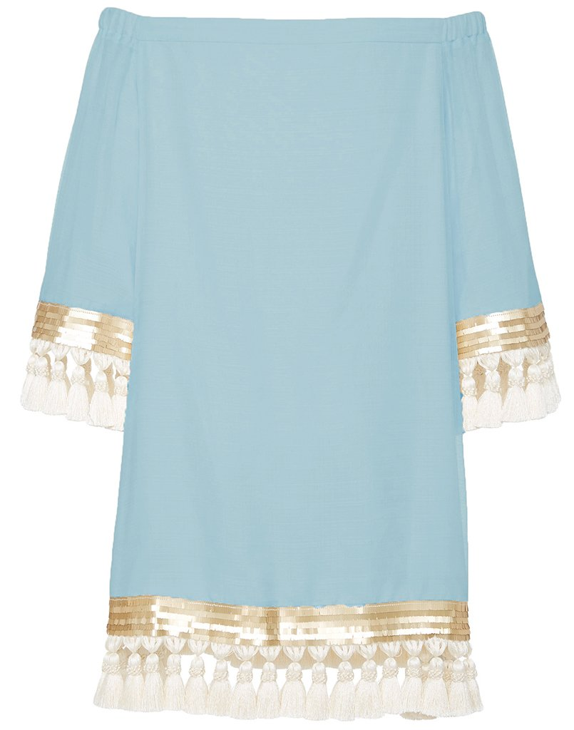 Back of the famous Cha Cha tassel dress in pacific blue, with fabulous long sleeves and fun white tassels.