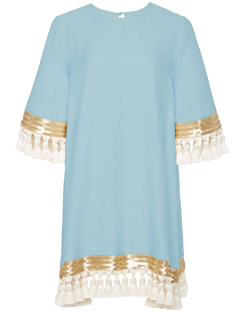 This short bright blue dress is the perfect thing to wear to any summer wedding, with perfect golden trim and fabulous white tassels.