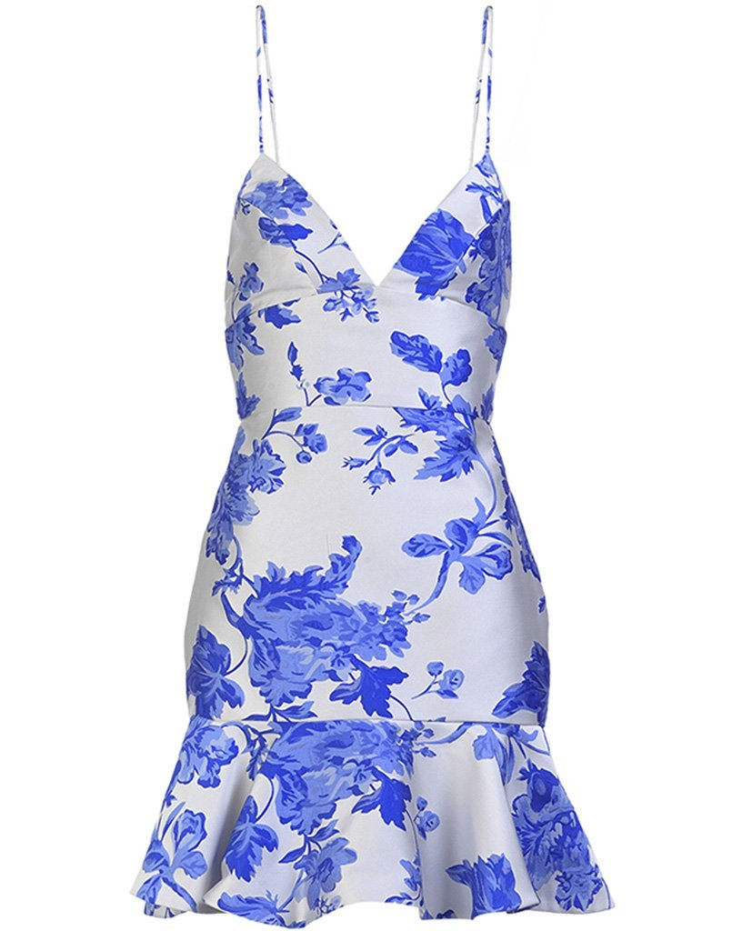 A mini dress perfect for summer with blue floral print, cute ruffled edge, and a V-neck.