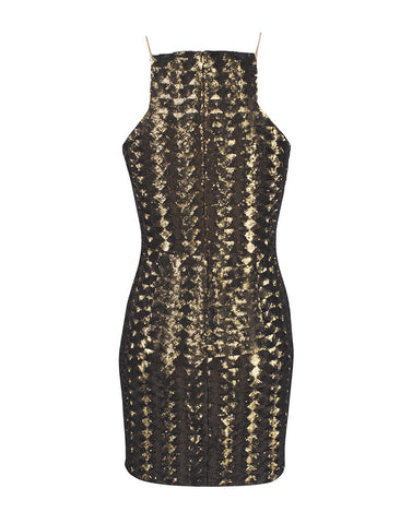 Flame Tree Gold Sequin Mini Dress