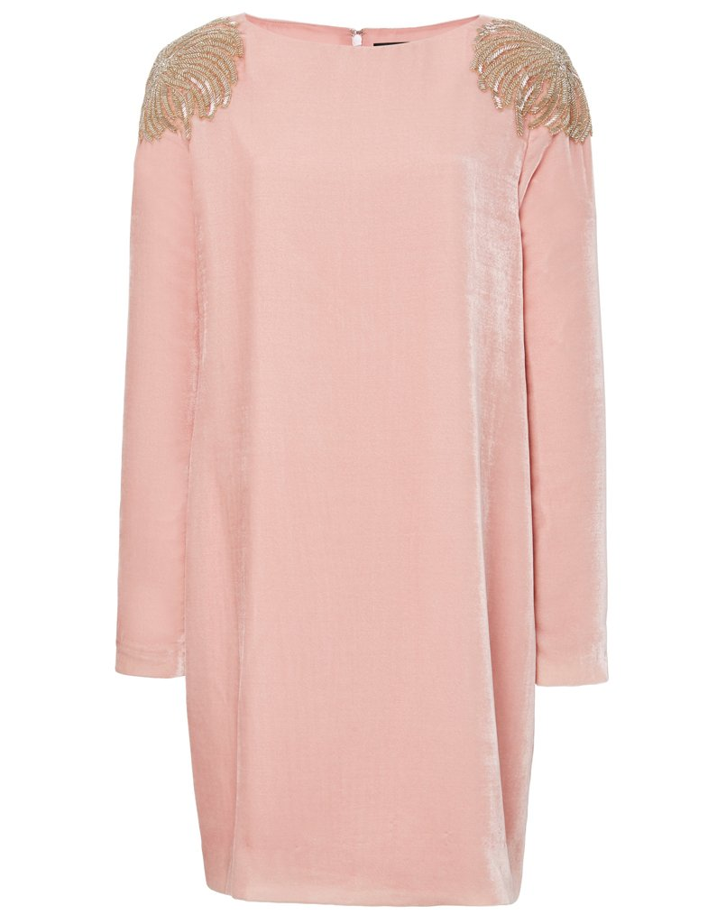 Classy pink long sleeved dress made out of velvet with gorgeous shoulder embellishments