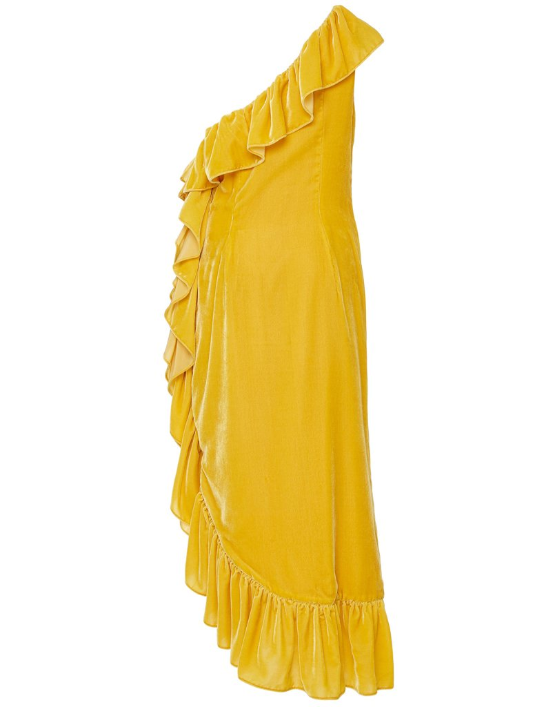 Back of glamorous affordable couture dress in bright yellow