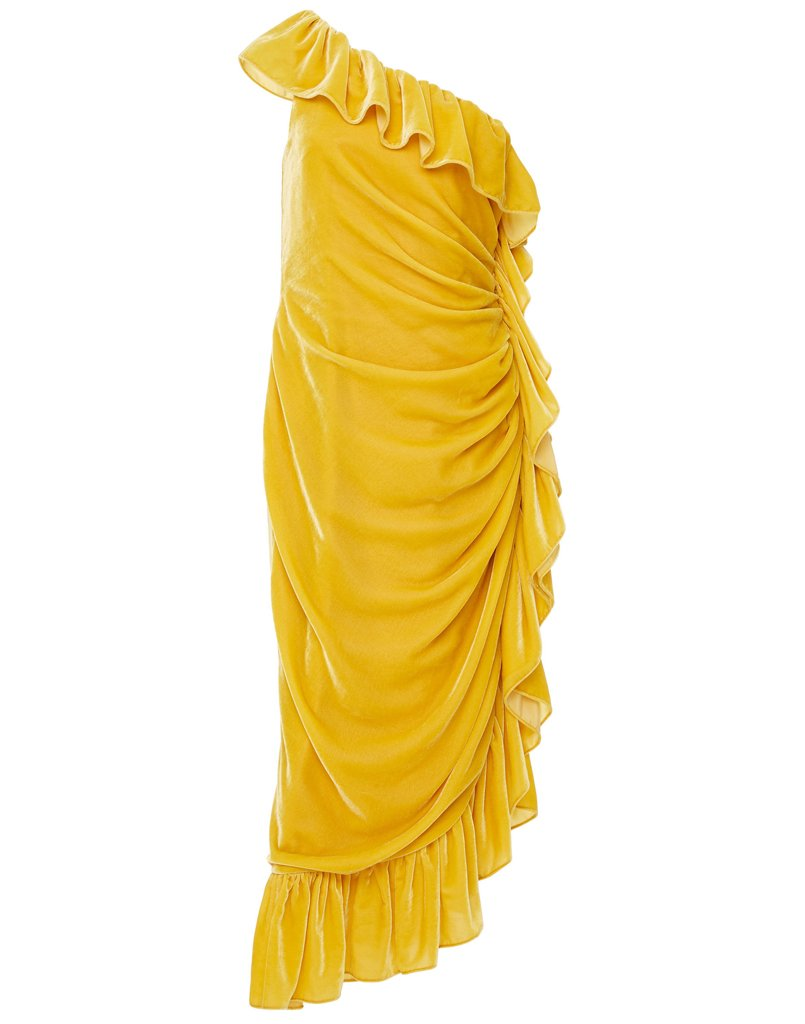 Bright yellow statement dress with ruffles and folds