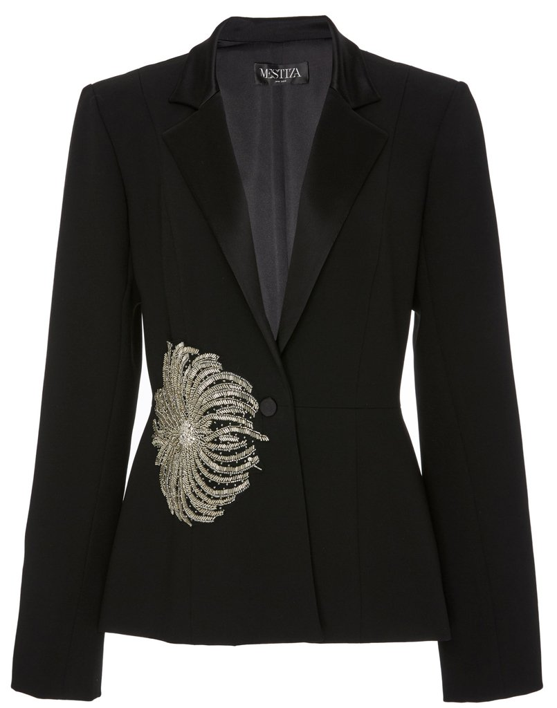 Front view of fitted tuxedo jacket with embellishments