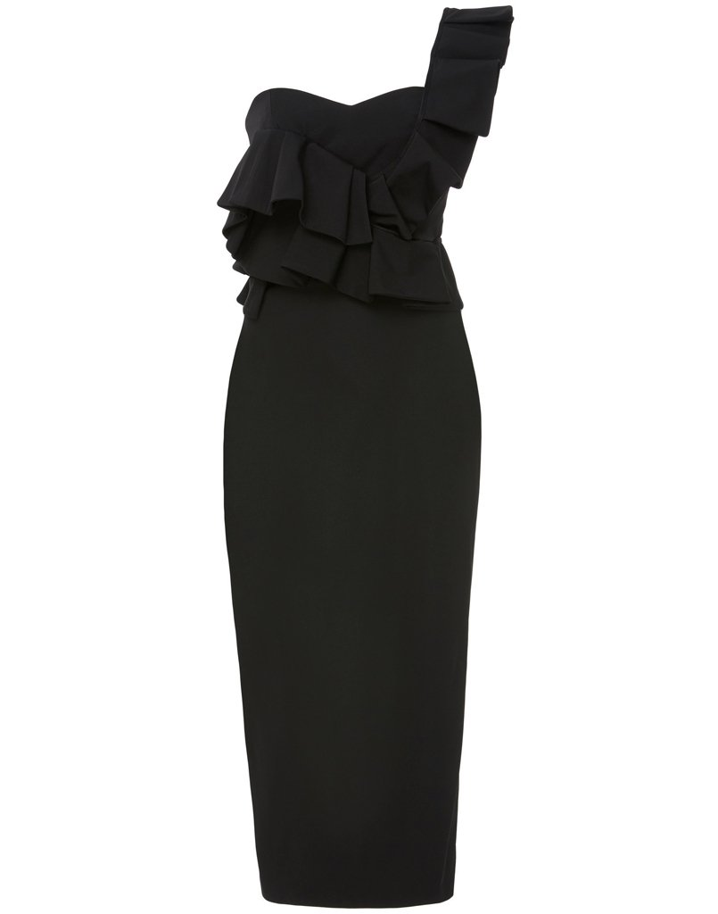 Front view of black dress with ruffles