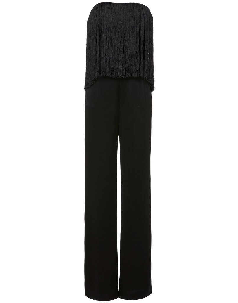 Front view of black fringe jumpsuit