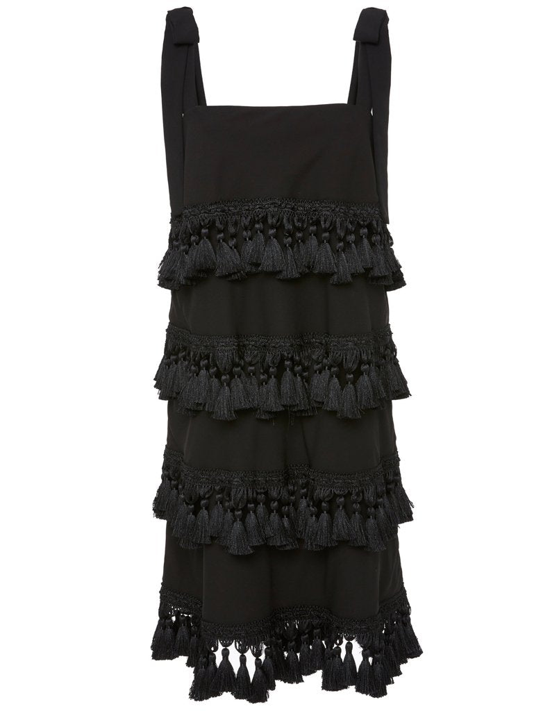 Front view of black tassel dress