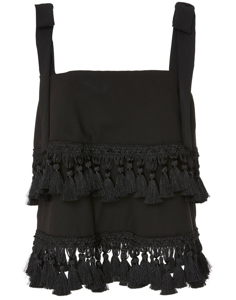 Front view of black tassel top