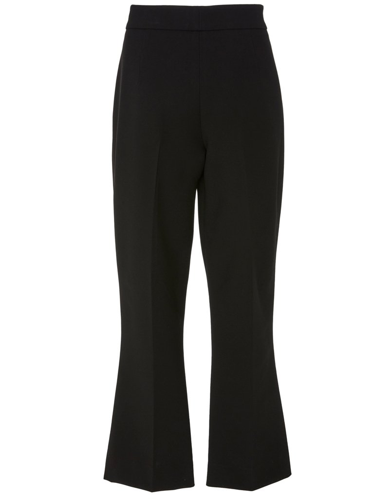 Back view of black pants with flare