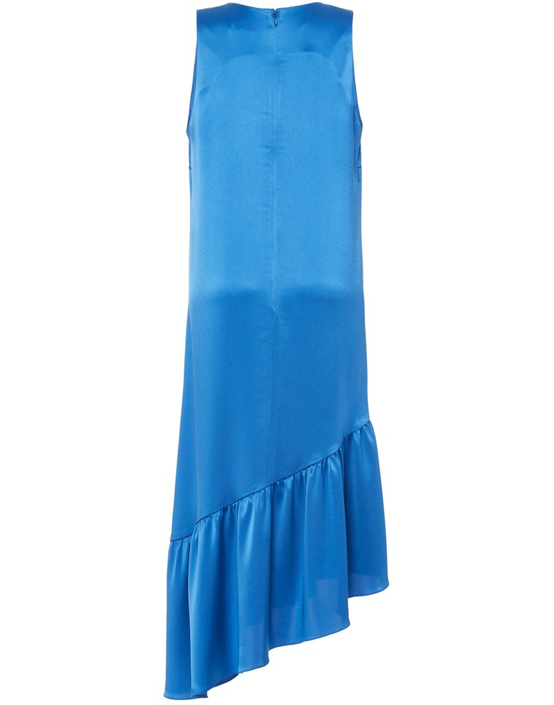 Back image of midi length blue dress with gorgeous neckline and fabulous ruffle hem