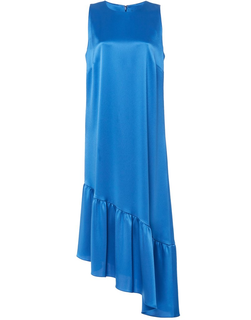 Bright blue dress with uneven hemline is perfect occasion outfit
