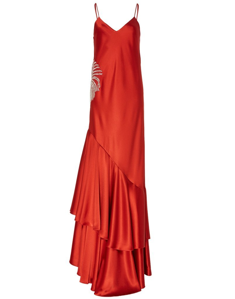 Cherry red gown with ruffle tiers and side embellishment is perfect for any black tie event.