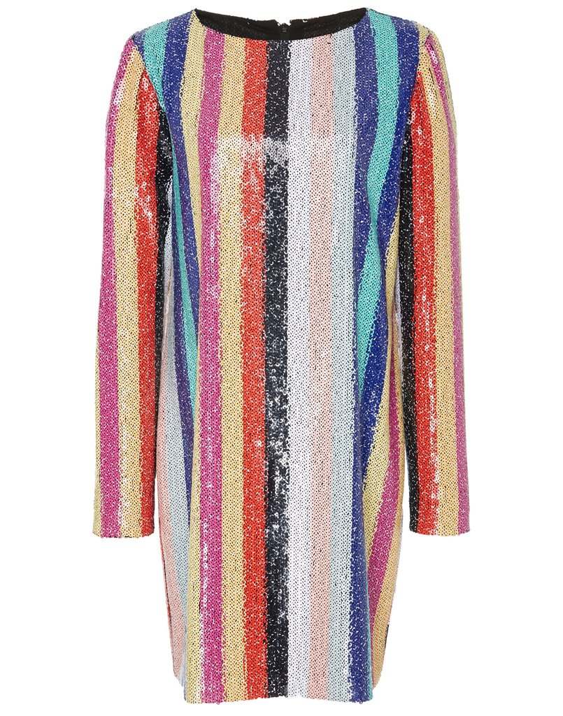 front view of multicolored sequin dress