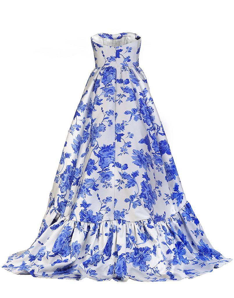 Blue and white woven jacquard gown with a sweetheart neckline and high low hem.