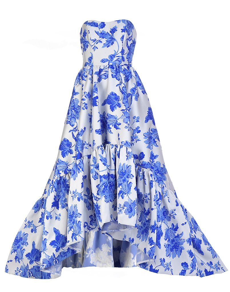 Affordable high end couture gown with a gorgeous floral print and flattering shape.
