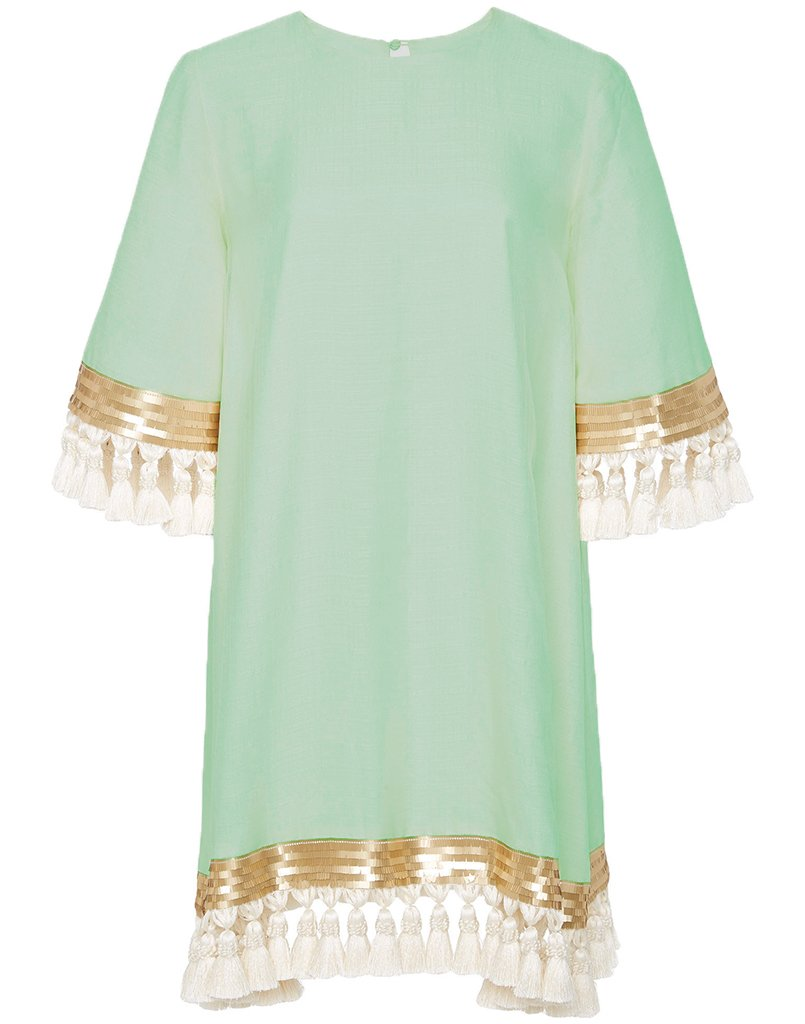 Shimmy Shimmy Tassel Dress Custom Sage Green
