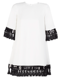 Shimmy Shimmy Tassel Dress in Ivory and Black