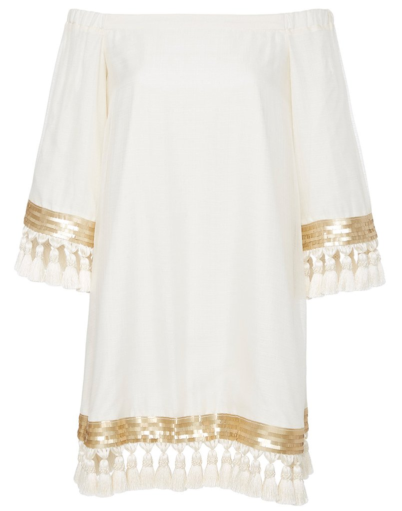 This cocoon silk cocktail dress in a fabulous white with gold trim and tassels will be perfect for any occasion.
