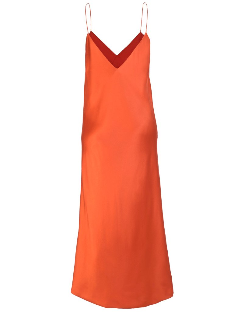 Back of satin crepe dress in firetruck red with V-neck cut on front and back and comfortable straps, dress is perfect for celebrities and cocktail parties.
