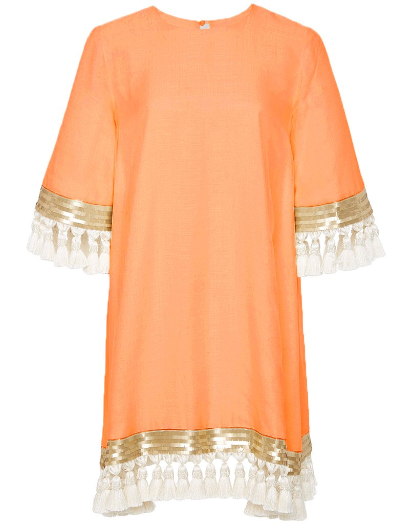 Shimmy Shimmy Tassel Dress Custom Orange Sherbert