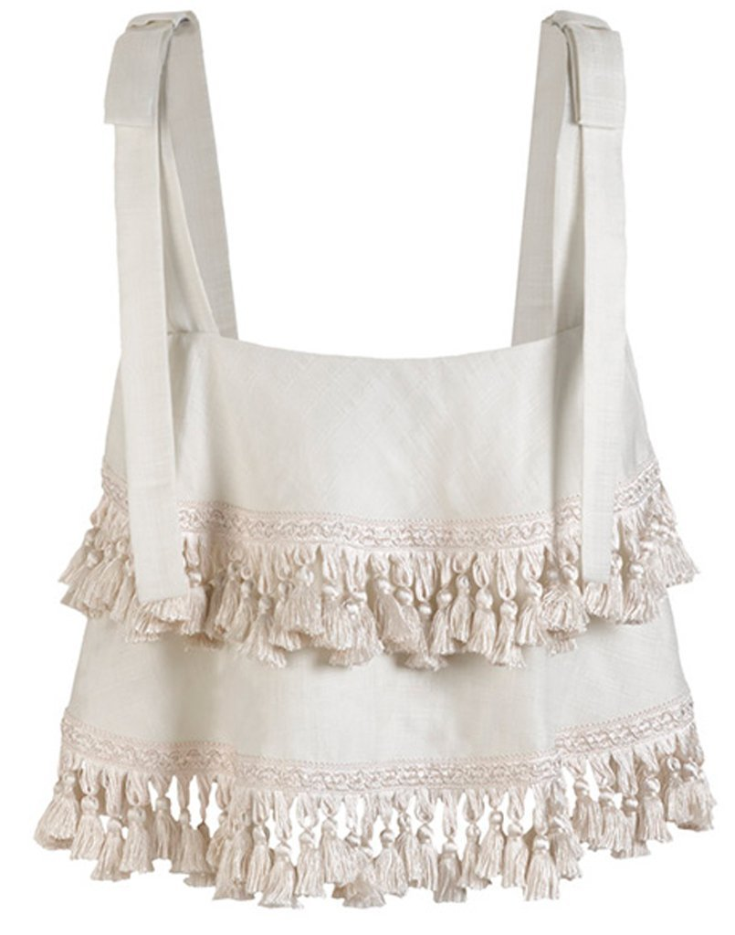 Back of tassel top showcases all around tassels that will bounce and dance as you move, making them perfect for vacationing all around the world.