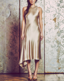 racerback midi dress, champagne satin back crepe, bias cut, side godet at skirt, fully-lined