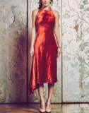 racerback midi dress, red rust velvet, bias cut, side godet at skirt, fully-lined