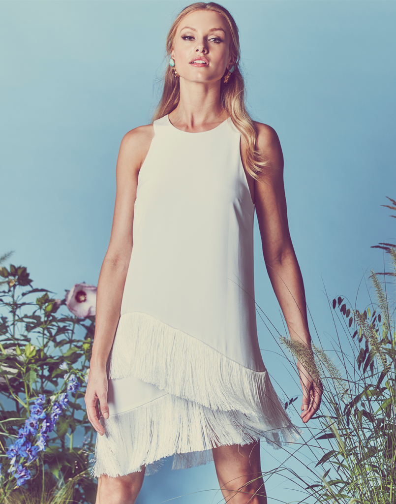 Mestiza New York Scala Fringe Dress in White Silk with Two Layers of White Tassel Fringe